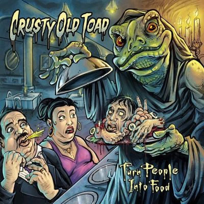 """#Album cover called """"Turn People Into Food"""" I illustrated for the #heavymetal #band #CrustyOldToad featuring the first giant toad monk holding a plate of body parts that I've ever drawn!The band and I didn't take the art too seriously - we wanted something dark but still funny and absurd.  I had more fun drawing the uppity aristocrat characters puking their guts out than anything else I think.  Check out their music:https://crustyoldtoad.bandcamp.com/"""