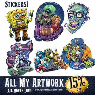 Did you know that I also sell my artwork on stickers?  These were created by the kind folks at Vinyl Disorder - all 15% off this month, please check it out! http://www.flylanddesigns.com/shop/