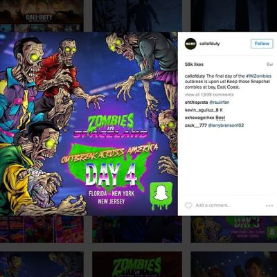 Ok, last post on this, I'm just excited about this one.  Here's a shot of one of the ways my artwork was used in the #Activision social media campaign for the launch of#CallofDuty #Zombies in Spaceland.  Each day, another #zombie appeared in the countdown.  Fans were given an app that put a zombie in their selfie, encouraging them to look like they were being eaten by the zombie.  My job is cooler than yours.Illustrated by Brian Allen, http://flylanddesigns.com/#mangastudio #photoshop #illustration #tshirt #art #instaart #instaartist #picoftheday #igdaily #followme