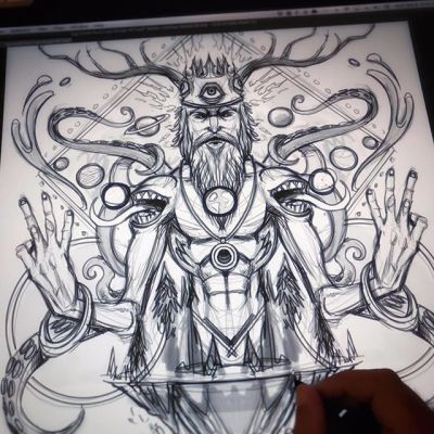 Sketching a trippy psychedelic illustration on a big old Wacom Cintiq I've had for 7 years. #sketch #wip #pencildrawing #concept #illustration #freelanceartist #hire #psychedlicart #wacomcintiq