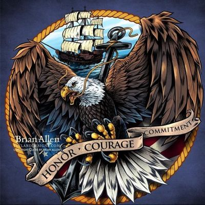 #Illustration of an angry and intense #eagle in front of an American flag in front of a shield similar to the #navy emblem I created for decals and apparel.Illustrated by Brian Allen, http://flylanddesigns.com/#patriotic #mangastudio #photoshop #illustration #art #instaart #instaartist