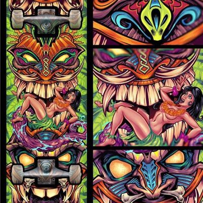 Really happy to share the first in a series of skateboards I designed for myself - this one has a series of tiki totems down the board.  Would love to find a company interested in printing these.  Might put them on apparel too. #tikiart #skateboardart #beach #art #mangastudio #clipstudiopaint #illustration #tshirtdesign #freelance #hire