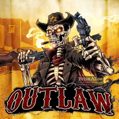 #Logo design I created for a #Twitch channel of an #outlaw #skeleton, drawn in Manga Studio.Illustrated by Brian Allen, http://flylanddesigns.com/#tshirt #mangastudio #photoshop #illustration #art #instaart #instaartist