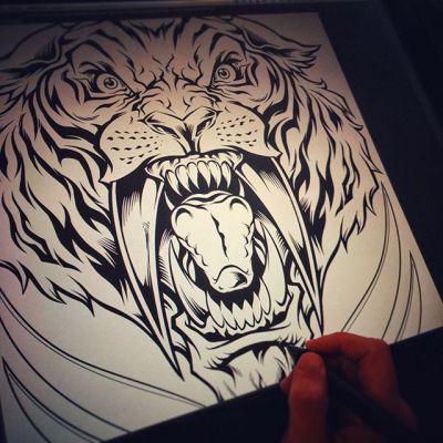 Throwing some inks on this sabertooth tiger! #sabertooth #wacomart #art #mangastudio #clipstudiopaint #illustration #tshirtdesign #freelance #hire