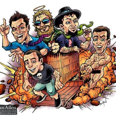 A #parody #illustration I drew of the profound and inspiring crew from #Jackass, responsible for more broken limbs than any other tv characters.Illustrated by Brian Allen, https://www.flylanddesigns.com/#cartoon #mangastudio #jackass #photoshop #illustration #art #instaart #instaartist