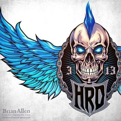 Custom #logo design I created for the rock music website #HardRockDaddy of a mohawk doting #skull with wings.The client wanted something iconic and with a lot of character, so that we could later create a storyline with the mascot in different situations for t-shirts and other promotional items.  The mohawk is a signature trait of the owner of the brand - we made it a vibrant blue, which will be carried out through all of the website's branding. We cycled through several different compositions and angles until we got it just right.Illustrated by Brian Allen, http://flylanddesigns.com/#mangastudio #photoshop #illustration #art #instaart #instaartist