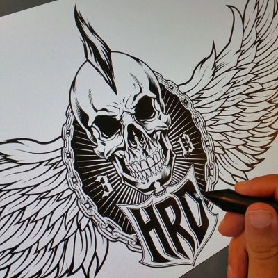 Client wanted me to change the 3/4 view skull to a front-facing skull for their #logo - when the worst part of your day is having to draw another #skull, it's hard to complain!Illustrated by Brian Allen, http://flylanddesigns.com/#vector #mangastudio #photoshop #illustration #art #instaart #instaartist