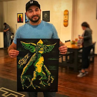 Got this great Germlins art print from the super talented Eddie Kepner @unlimitedvisual at his art show last weekend at my friend @iamryancherry 's coffee shop @eastendcoffeeco -such a nice dude. Learned a lot. Thinking about getting some of my artwork printed this big.
