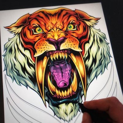 Laying down colors on this sabertooth tiger in CLIP STUDIO PAINT -  really happy with how this came together  #art #smashville #sabertoothtiger #mangastudio #clipstudiopaint #illustration #tshirtdesign #freelance #hire
