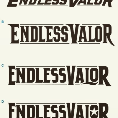 Can you guys help me decide which logo type is best here? I'm going to try to build my own brand of clothing targeting the patriotic/military/police/firefighter market, and I'm trying to design a bold logotype I can use as a watermark over the artwork.If you think this name is lame, then you can GiiiiiiiiT OUUUUT!!!