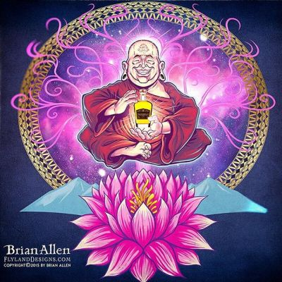 Happy #monk and #lotus flower I illustrated in this - I'm really enjoying a new approach to my artwork which involves fewer, bold outlines, and then a painterly rendering under the lines using the blending brushes in Manga Studio.Illustrated by Brian Allen, http://flylanddesigns.com/#psychedelic #monk #mangastudio #photoshop #illustration #art #instaart #instaartist