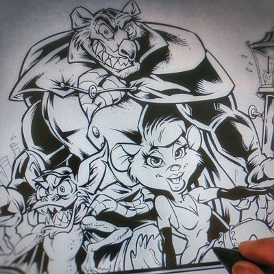 Inking a #tribute #illustration to one of my favorite animated films as a kid, The #GreatMouseDetective. Watching this again now with a new perspective it's easy to see every scene as a work of art.Illustrated by Brian Allen, http://flylanddesigns.com/#tshirt #mangastudio #photoshop #illustration #art #instaart #instaartist