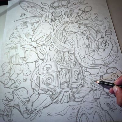 Really enjoying working on this #pyschedelicart detailed mechanical #elephant drawing for a #tapestry design.  Look at the way I'm posing my pencil!  It looks like I'm really drawing! #sketch #wip #pencildrawing #concept #illustration #freelanceart #hire