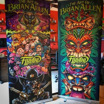 Just had these pop-up banners made, and I'm so happy with how they turned out. I'm finally going to get away from my desk and start attending conventions - I've got a few at the end of the year - a mix of comic conventions, horror conventions, and a cannabis convention in Las Vegas I'll be attending. Nervous and excited to see how that all goes. Anyone have a reccommendation for conventions near Pennsylvania?#conventionartist #mangastudio #clipstudiopaint #illustration #tshirtdesign #tshirtart #hireanillustrator #freelanceartist #wacomcintiq