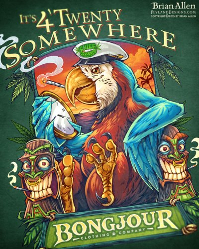 T-Shirt illustration of a parrot and tiki heads marijuana themed