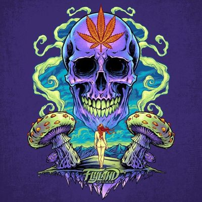 Here's the finished design! I decided to color this totally different than anything in the series and in my portfolio. Signed art prints available now in my shop! Since I was doing this for myself, I thought it would be a good opportunity to make a purple skull - clients get skiddish when I suggest that.https://www.flylanddesigns.com/shop/....#skullart #skull #psychedelicart #meditation #trippyart #cannabisart #mushroomart #marijuanaartist #cannabiscommunity