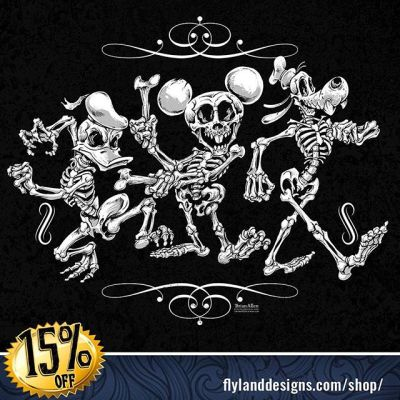 I've got five left of my Limited edition Disney skeletons Silk Screen Prints! Everything in my shop is 15% off this week!#Mickey #Silkscreen #prints #sale #disneyfanart #disney #skeletonart