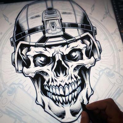 Inking a skull soldier in Clip Studio Paint on the Wacom Cintiq - I'm really enjoying working with my stippling brushes to make shading quicker - works great for silk-screening too.#skullart #skulls #skulldesign #darkartist #darkart #skullartwork#art #inkdrawing #mangastudio #clipstudiopaint #illustration #hireanillustrator #freelanceartist #wacomcintiq