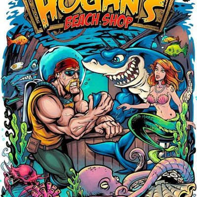 Another fun design I worked on for Hulk Hogan's beach shop in Florida - we used an older design from my portfolio that he really liked and drew in Hulk getting bested by the store's shark mascot. Love working with these guys!#hulkhogan #wweart #wweartwork #andrethegiant #worldwidewrestling #wwenetwork #appareldesign #tshirtdesign #tshirtartist #screenprintart #dtg