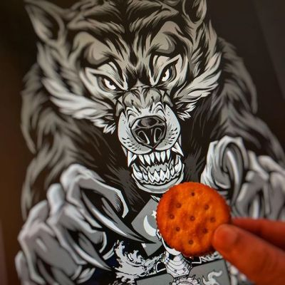 Here's a wolf I drew for the Ron Clark Academy. He likes crackers.#wolfmascot #wolfart #peanutbuttercrackertime