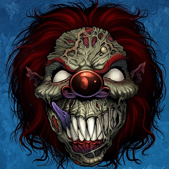 I did this illustration of an evil clown for a motorcycle graphics company.