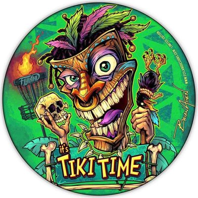 "I've been making a new Foil Disc Golf Disc each month • Here's June's: ""It's Tiki Time"" - I've got 20 left out of 50. All signed and numbered. Full foil, Discraft Buzzz discs. They just came in from Discraft yesterday - haven't had a chance to photograph the actual foil disc yet, but I'm really pleased with how they came out.•Grab one here: https://www.flylanddesigns.com/custom-illustrated-disc-golf-disc/#tikiart #tikibar #beachart #tikitotem #surfart #tikiartist #beach#discgolf #frisbeegolf #discraftdiscs #teamdiscraft #detroitdisccompany #disc"
