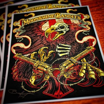 Here's a shot of the official Moonshine Bandits prints I created - limited to 100, signed and numbered. Let me know if you want one, thanks!#moonshinebandits #countryrock #eagleart #patrioticart #guns #secondammendmentart
