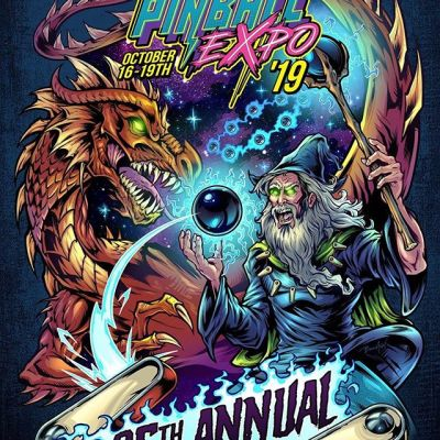 The Pinball Expo in Chicago was kind enough to hire me to create the t-shirt for this year - HERE IT IS! There are some things I would fix, but generally very pleased with this. Limited Edition prints available on my website and at my booth at Expo. This piece explores the history of pinball that we all know, when Pinball was accidentally created during an epic battle between the ancient Merlin and a cosmic Quasar Dragon.#pinballexpo #pinballart #pinballartwork #pinball #pinballmachine #playfield #backglass