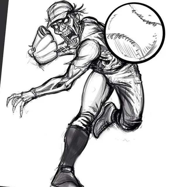 A sketch of a zombie baseball player I did for Great Dane Graphics.