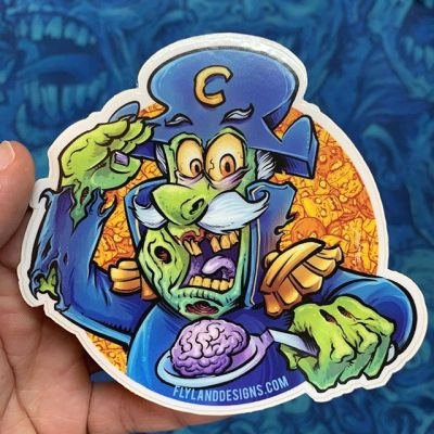 Captain Dead stickers are back in my shop! Brains are the most important meal of the day!#cartoonparody #cerealart #captaincrunch #zombieart #zombies #vinylart #vinylcollector #stickerslap #stickerart #diecutsticker #stickerswap #stickerartist #stickeraddict