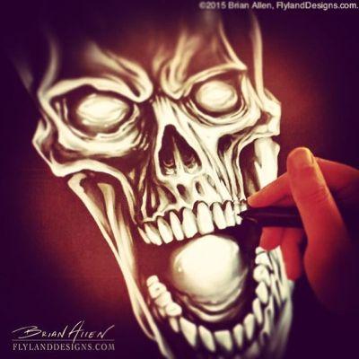 Painting skulls because it's Monday Illustrated by Brian Allen, FlylandDesigns.com#skulls#mangastudio #photoshop #illustration #tshirt #art #instaart #instaartist #picoftheday #igdaily #followme