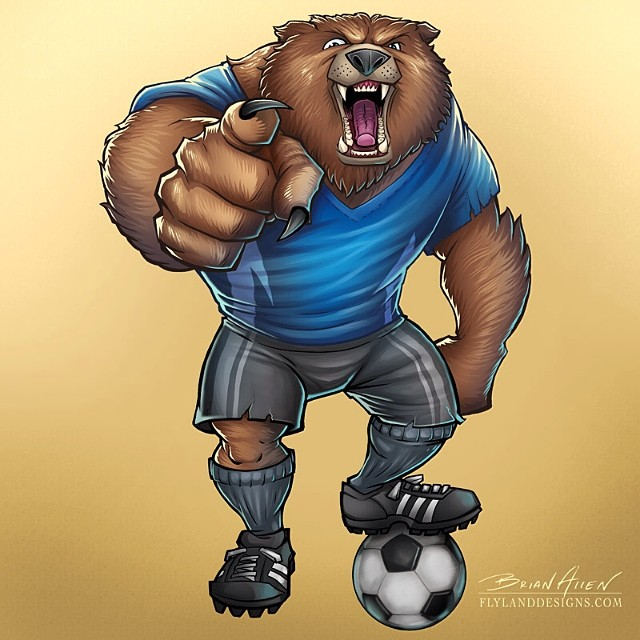An illustration of a bear with a soccer ball. This illustration was done for Great Dane.