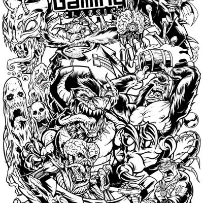 Here's the finished ink drawing I created for the Midwest Gaming Classic (which was unfortunately canceled). I drew tons of the arcade bad guys I grew up with - Donkey Kong, Bowser, Centipede, Mother Brain, Dr. Robtnik, and a bunch more. Luckily, they are still going to have this available on a t-shirt - I also have a limited series of posters printed up for this.#pinball #midwestgamingclassic #mgc2020 #videogames #arcade #retroarcade #sonicthehedgehog #mario #pinballart