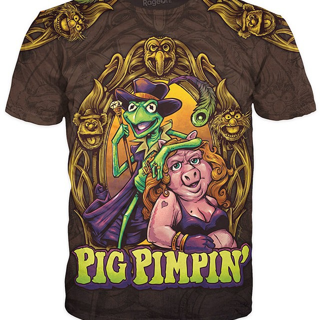 Proud to present the Pig-Pimpin Dye-Sublimated all-over print t-shirt I created for my new apparel store at http://www.rageon.com/collections/the-art-of-brian-AllenPlease help me share this! It's my baby!