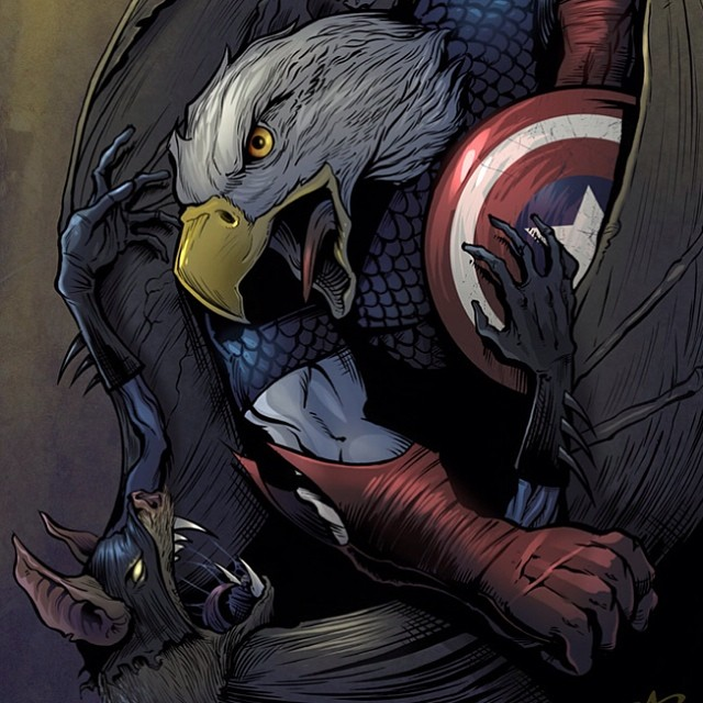 Comic book art I illustrated of Captain America and Batman in their animal form.