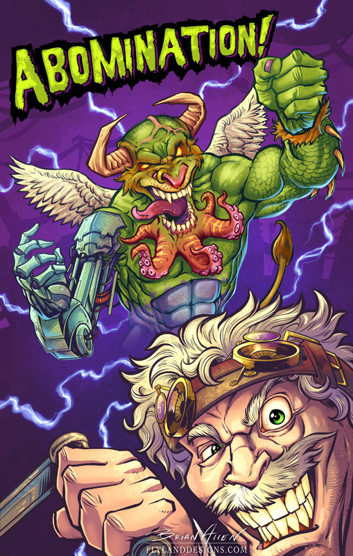 Illustration of a mad scientist bringing a strange creature to life for a card game