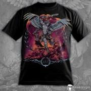 T-Shirt illustration of an archangel slaying demons.