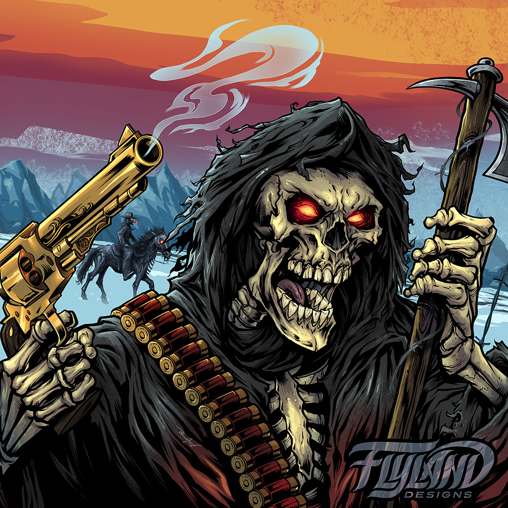 Evil grim reaper with guns.