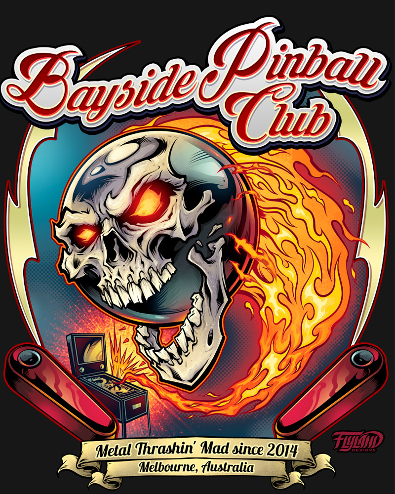 Skull Pinball on fire flying out