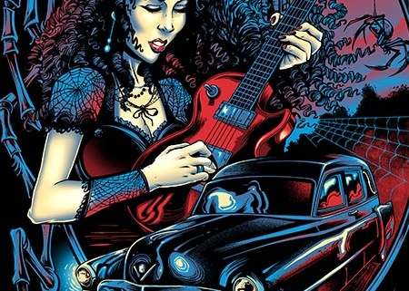 female guitarist black widow dar