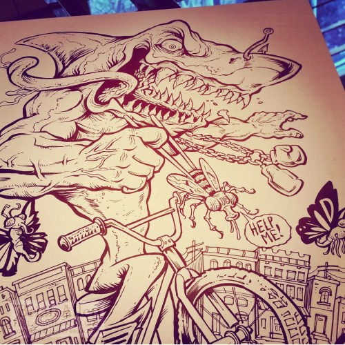 Crazy shark riding a bike in the