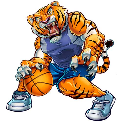 tiger character design playing basketball - Graphic Design From Home