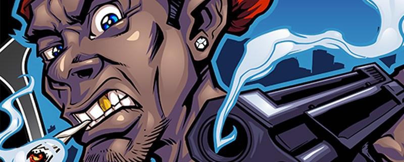 Angry gun-toting gangster mascot character design