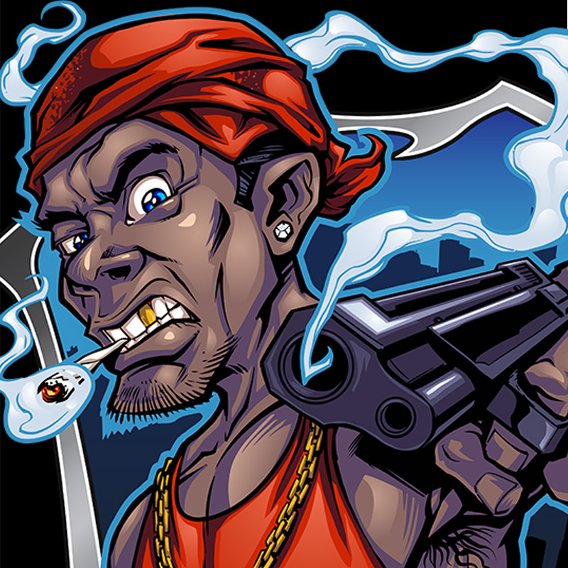 Angry gun-toting gangster mascot character design