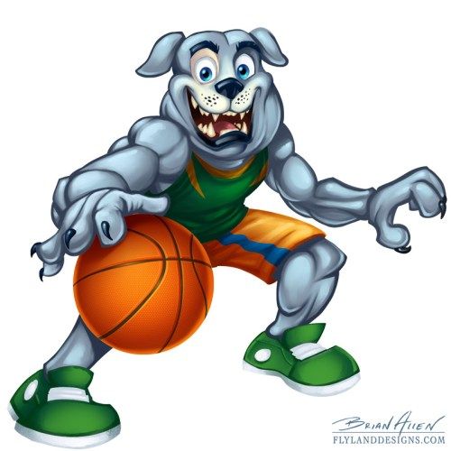 Sports mascot illustration of a bulldog playing basketball for kids