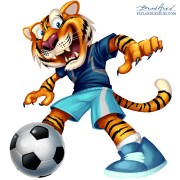 Sports mascot illustration of a tiger playng soccer for kids