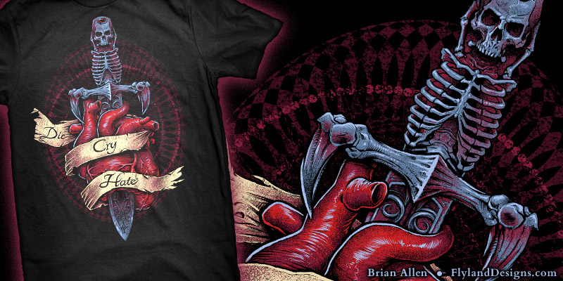 T-Shirt illustration of a sketleton dagger through a realistic looking heart