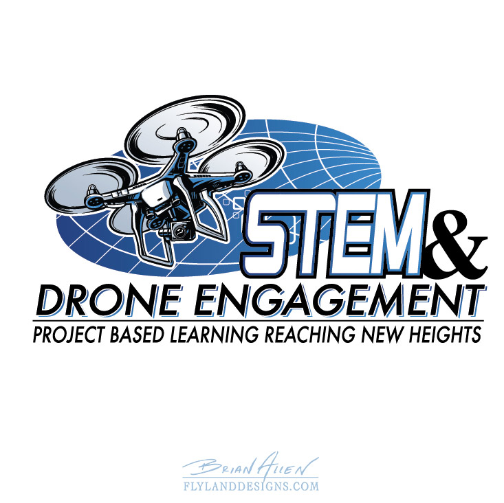 Drone STEM science logo illustration design