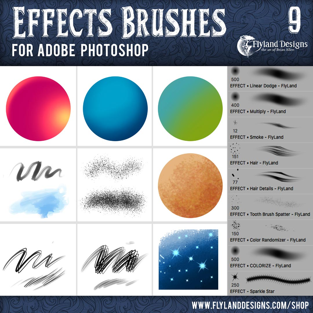 Custom Adobe Photoshop Brushes by Freelance Artist Brian Allen