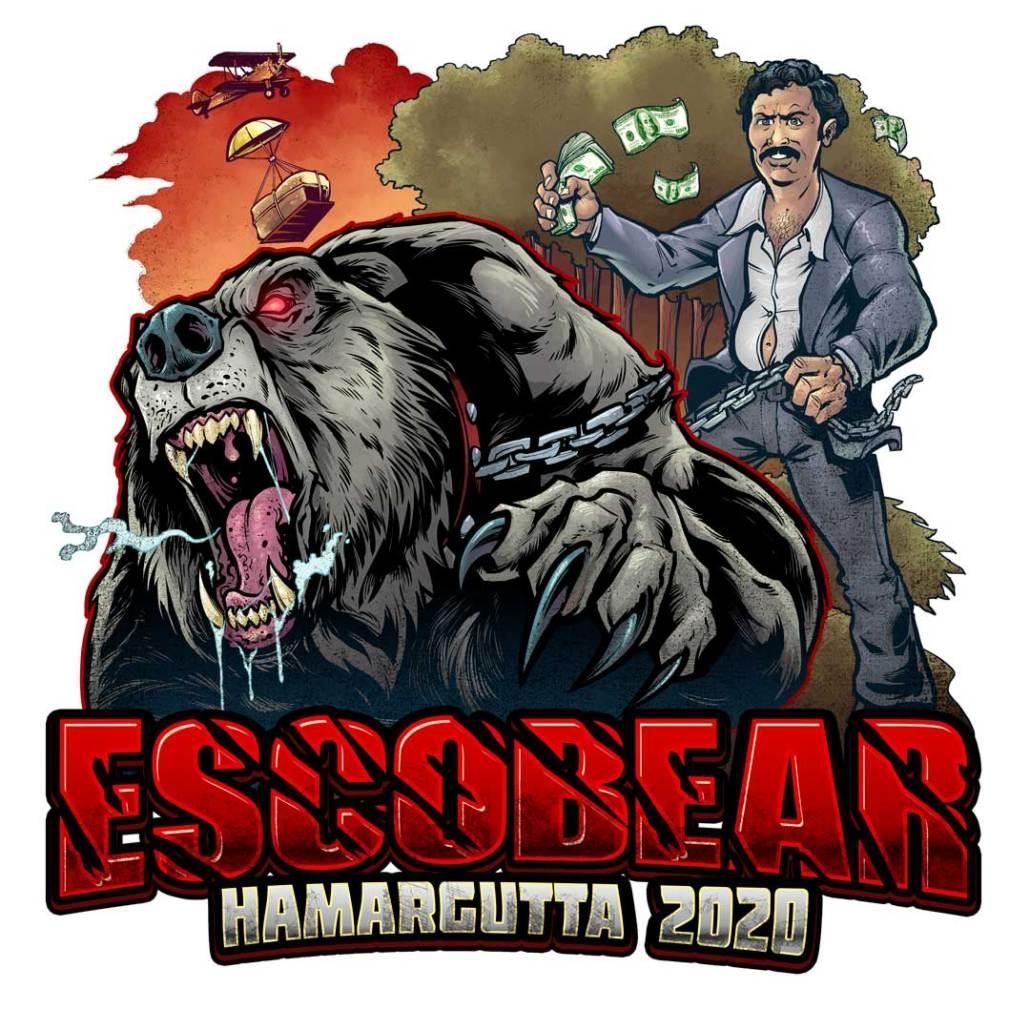 dangerous man with rabid bear on